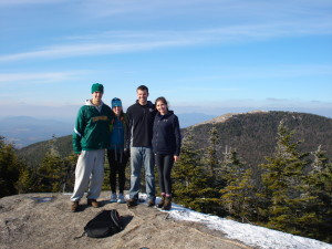 Kolby, Walter, Sarah, and Catherine at the first look out on Cascade Mt.